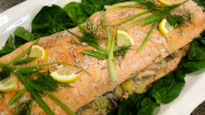 Salmon Stuffed with Potatoes, Mushrooms & Dill