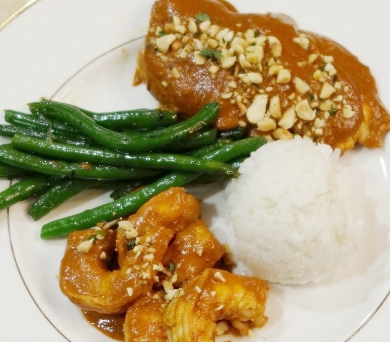 Chicken & Shrimp in Ancho-Chipotle-Sesame Sauce, Coconut Rice with Lime and Green Beans with Summer Savory