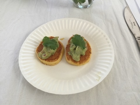 Mini Corn Pancakes with Guacamole Salsa