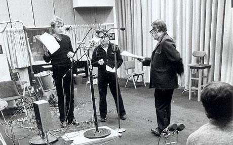 Bill Nighy, Ian Holme and Peter Woodthorp recording at the BBC in 1981. From  Brian Sibley's Blog