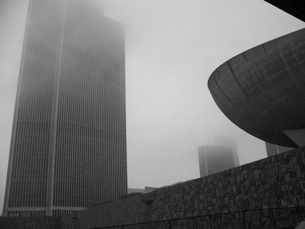 The Egg and Corning Tower in Fog