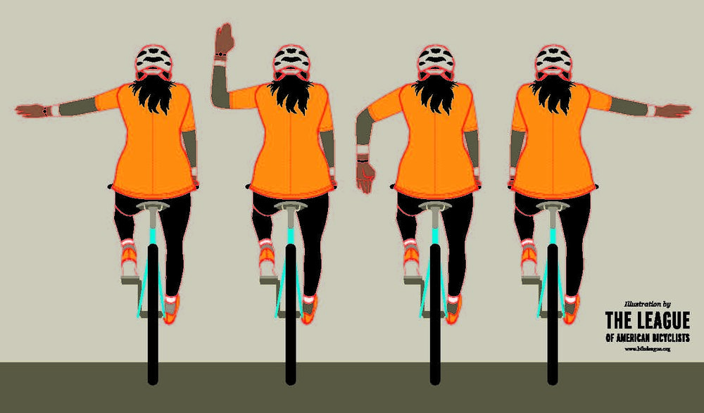 Hand signals, from left: Left Turn, Right Turn (alternate), Stop, Right Turn (preferred).  Source: League of American Bicyclists.