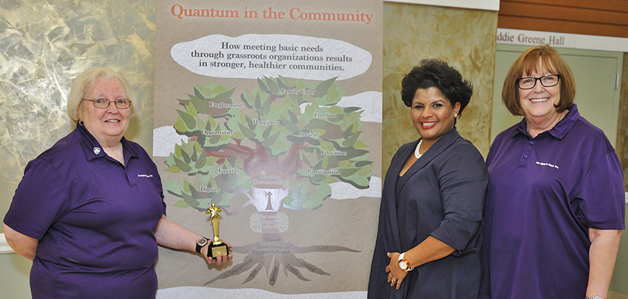 "our sister's place is proud to be a recipient of the quantum foundation's ""quantum in the community"" grant .  Our sister's place founder hazel Raigue and Jane Wagley, Director of outreach and advocacy with Quantum Foundation board member Ethel Isaacs Williams --  read more here"