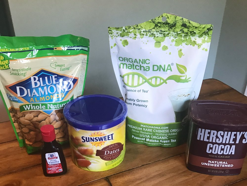 Ingredients: ½cup whole raw almonds, ½ cup pitted dates, ¼cup cacao powder, 1 Tbsp. matcha powder plus more for rolling, 1 tsp. vanilla extract, 1 tsp. 100% maple syrup (I used honey)