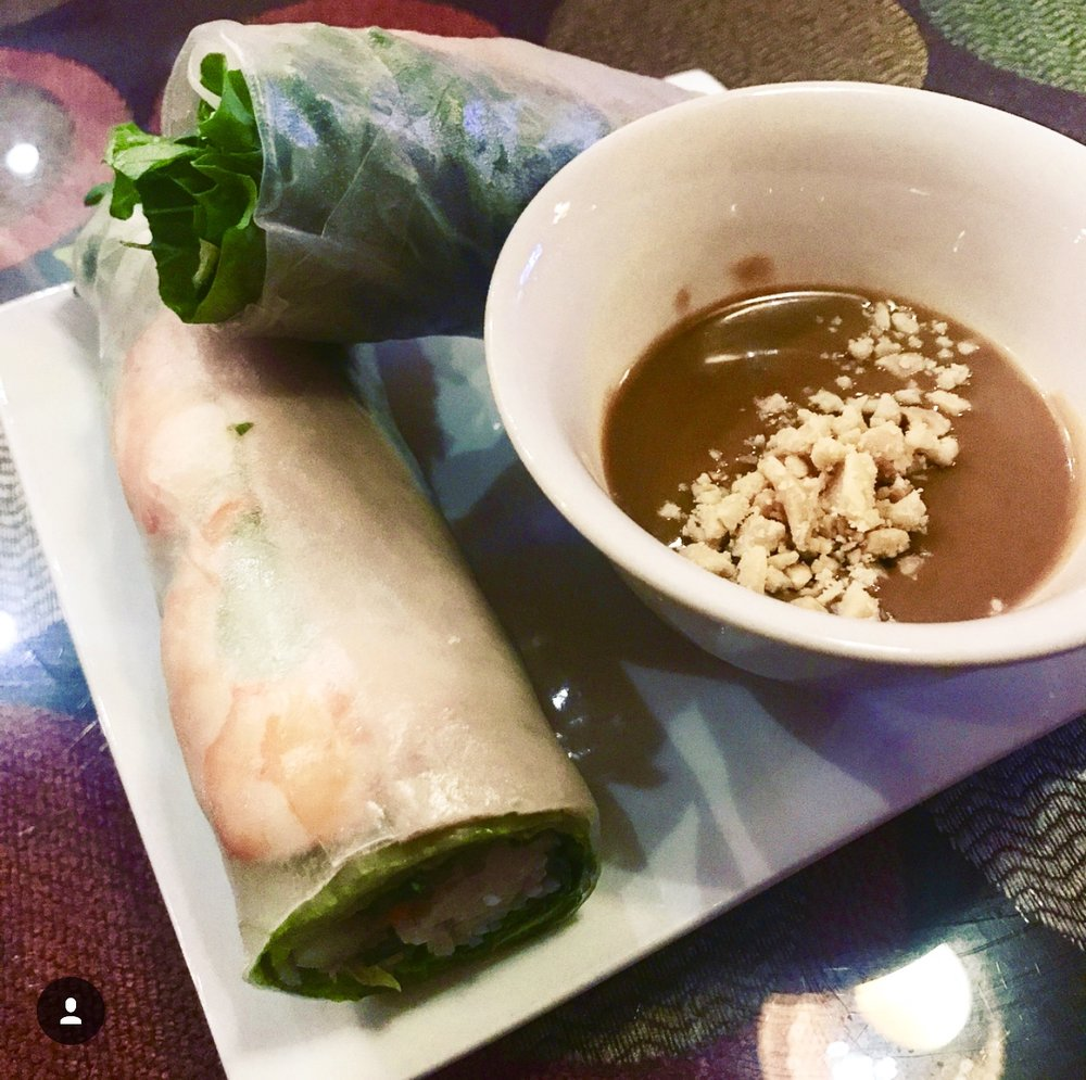 Pho Lee: Spring Rolls with Peanut Sauce