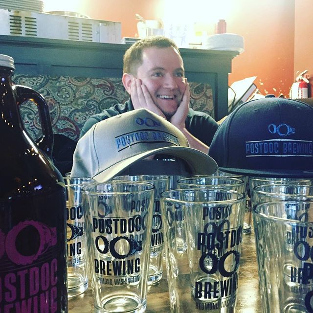 Are you as excited as Alex is about tonight? We sure are. #tonight in #woodinville #now #brewersnight with @postdocbrewing ! #getinhere @washingtonbeer @woodinvillecc @visitwoodinville @winewoodinville #craftbeer #wabeer #redmondbeer