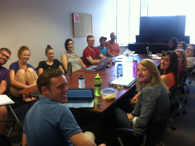 Our lab meetings finally outgrew our lab space!