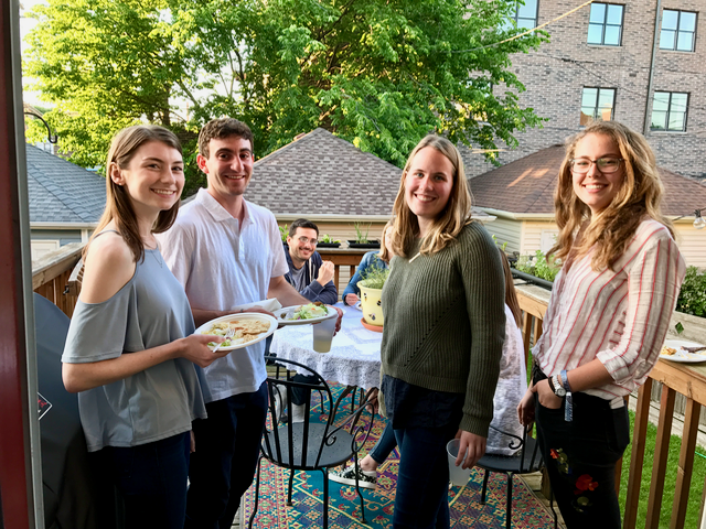 ADAPT Research Assistants Rachel Conley, Ned Shashoua, Emily Frraser and Alara Ozsan (Raffi Cowan in background) enjoy our end of the term lab party!