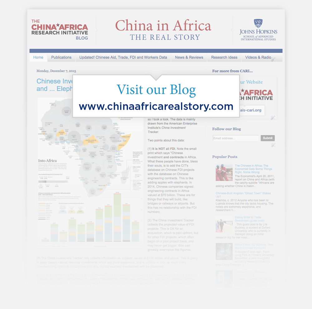 "Link to the CARI Blog, ""China in Africa: The Real Story"" at www.chinaafricarealstory.com"