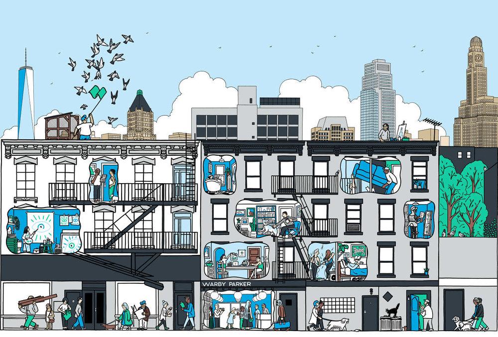 Mural diseñado para Warby Parker —Pete Gamlen