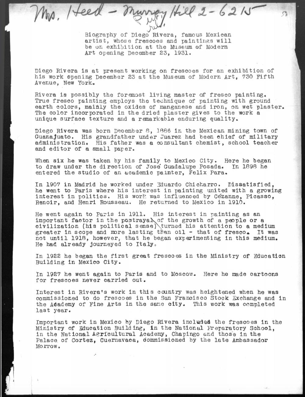 Diego Rivera (Comunicado de Prensa) /1933