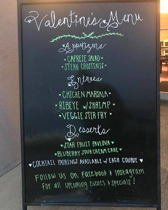 Come have dinner with us. Sydney has created a wonderful menu and Brandon has incredible drinks for pairing. You won't want to miss it. Shout out to @laurennmariee94 and her beautiful chalkboards. #eatsouthmarketpace #drinksouthmarketpace #eatplayrelax #southmarket #southmarketpace #valentinesdinner
