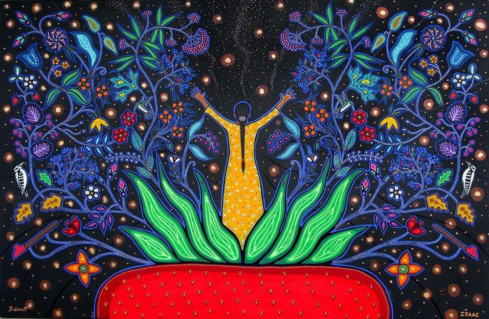Collaborative artwork by Christi Belcourt and Isaac Murdoch