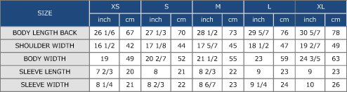 Men's Polo Shirt Approximate Size Chart