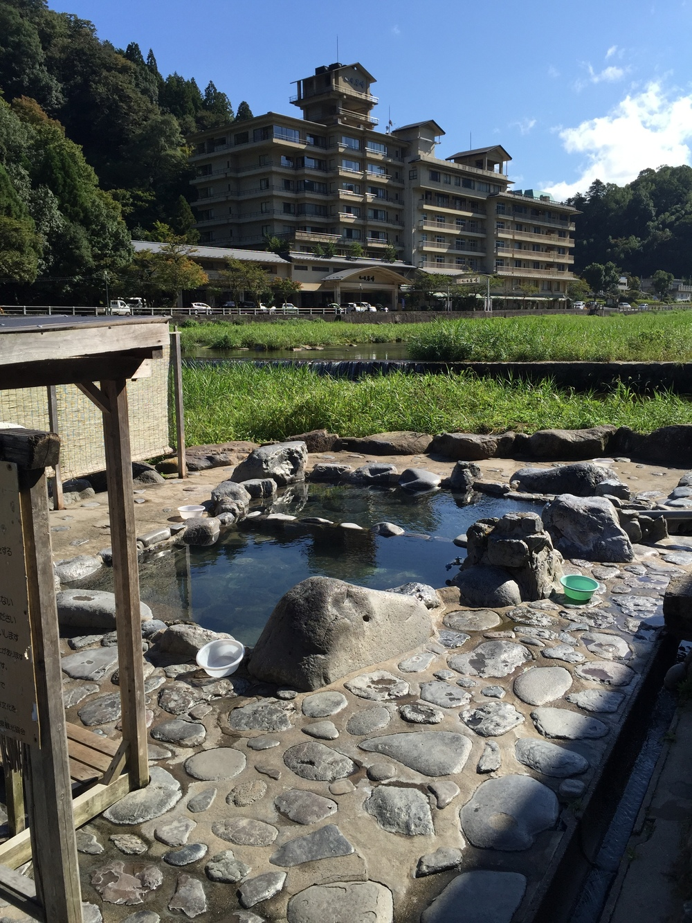 Public outdoor bath in Misasa Onsen