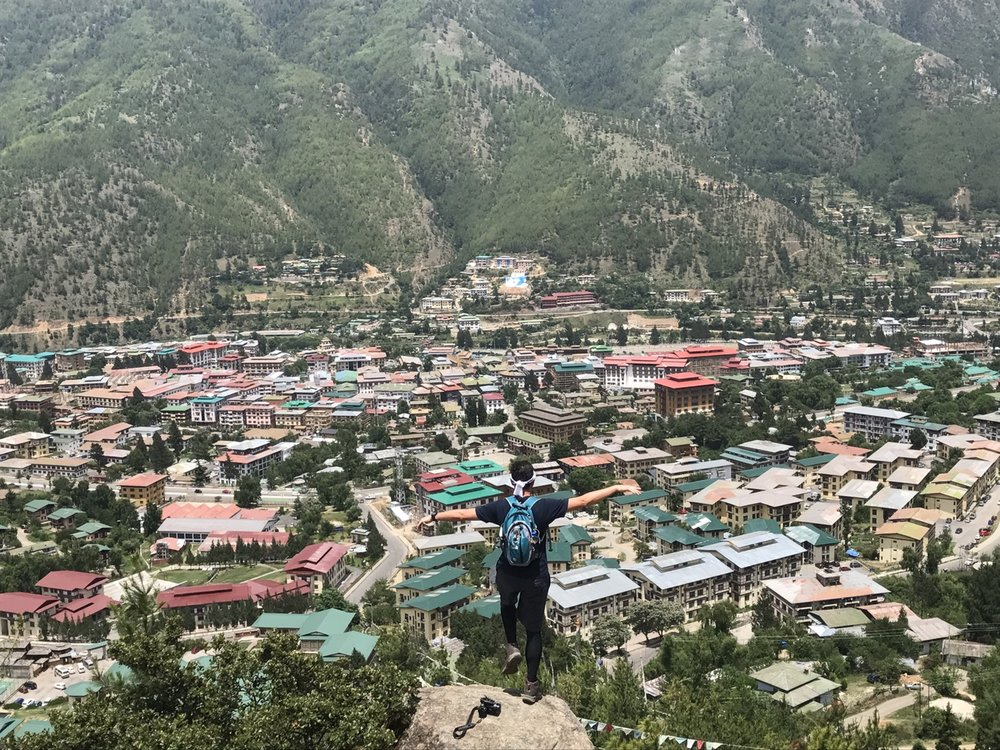 The capital city Thimphu, as seen from a hiking trail