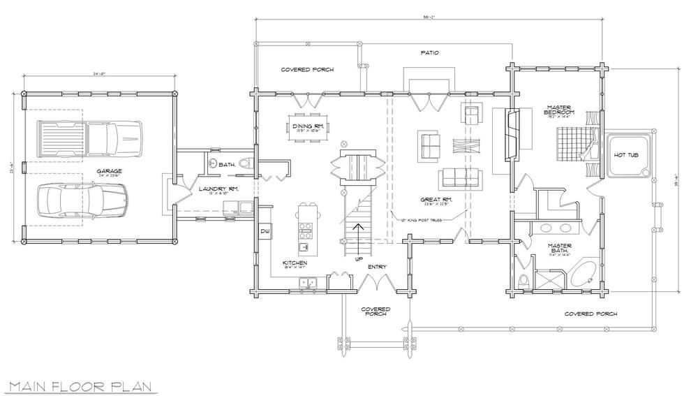Log Home (main floor plan)