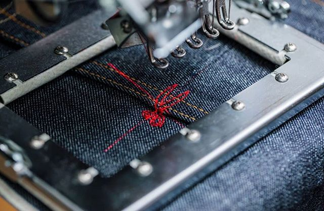 It takes 691 stitches to complete every scissor logo #thetruthisinthedetails #denhamaustralia