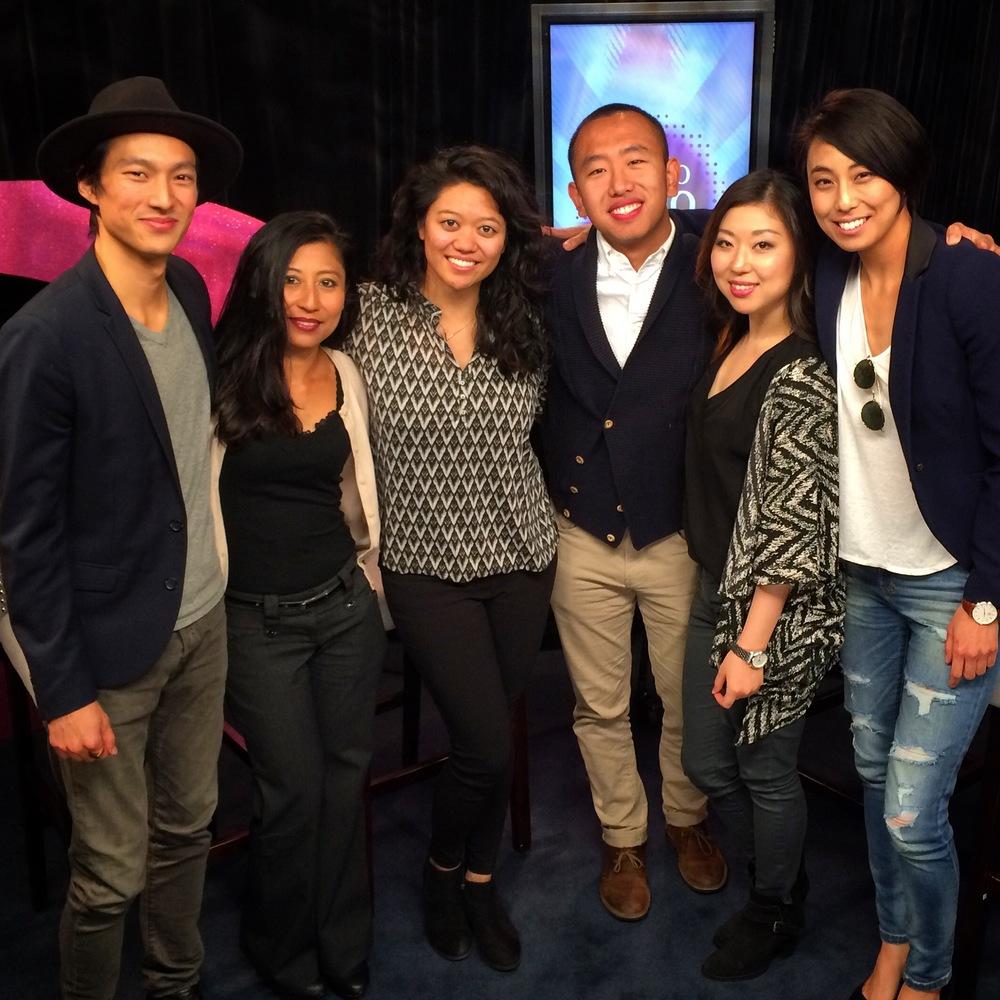 Christopher Park, Kat Iniba, Myself, David Liu, Diana Cha, and Mina Son after our interview on LA 18 Halo Halo.