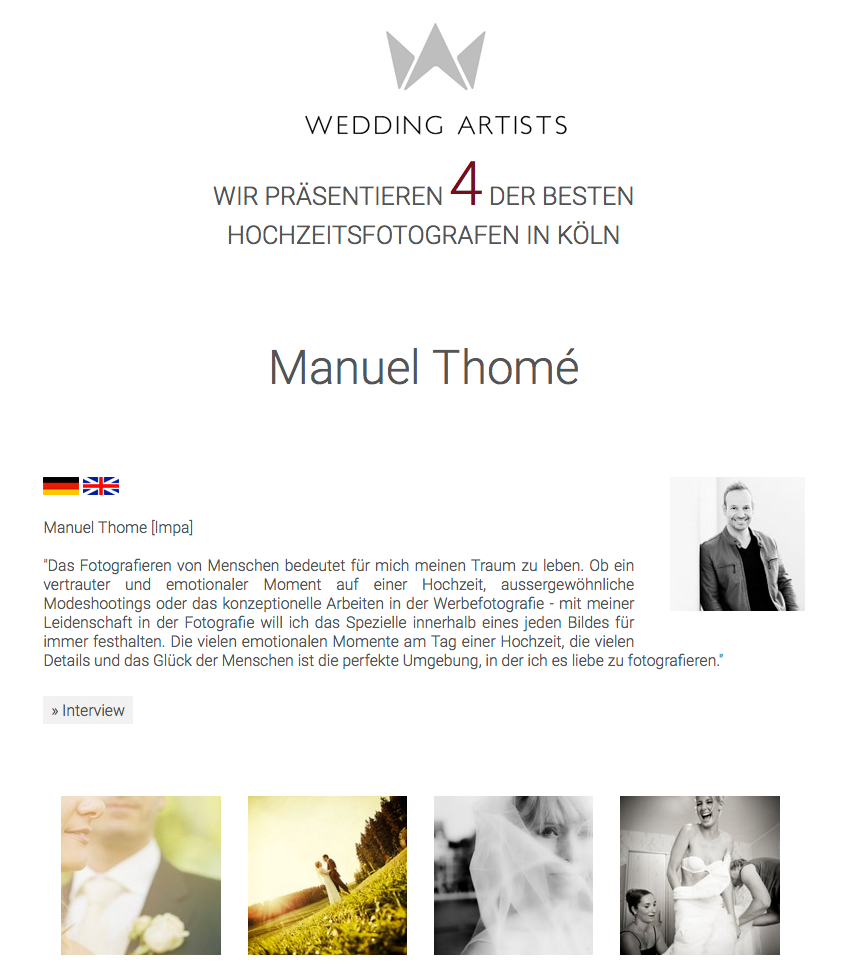 Wedding Artists präsentiert Manuel Thome als Hochzeitsfotograf in Köln und Düsseldorf
