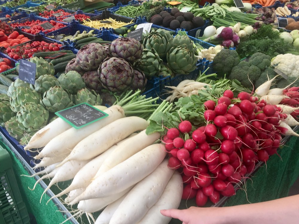 Some of the amazing choices at Viktualiemarkt. Look at those artichokes!