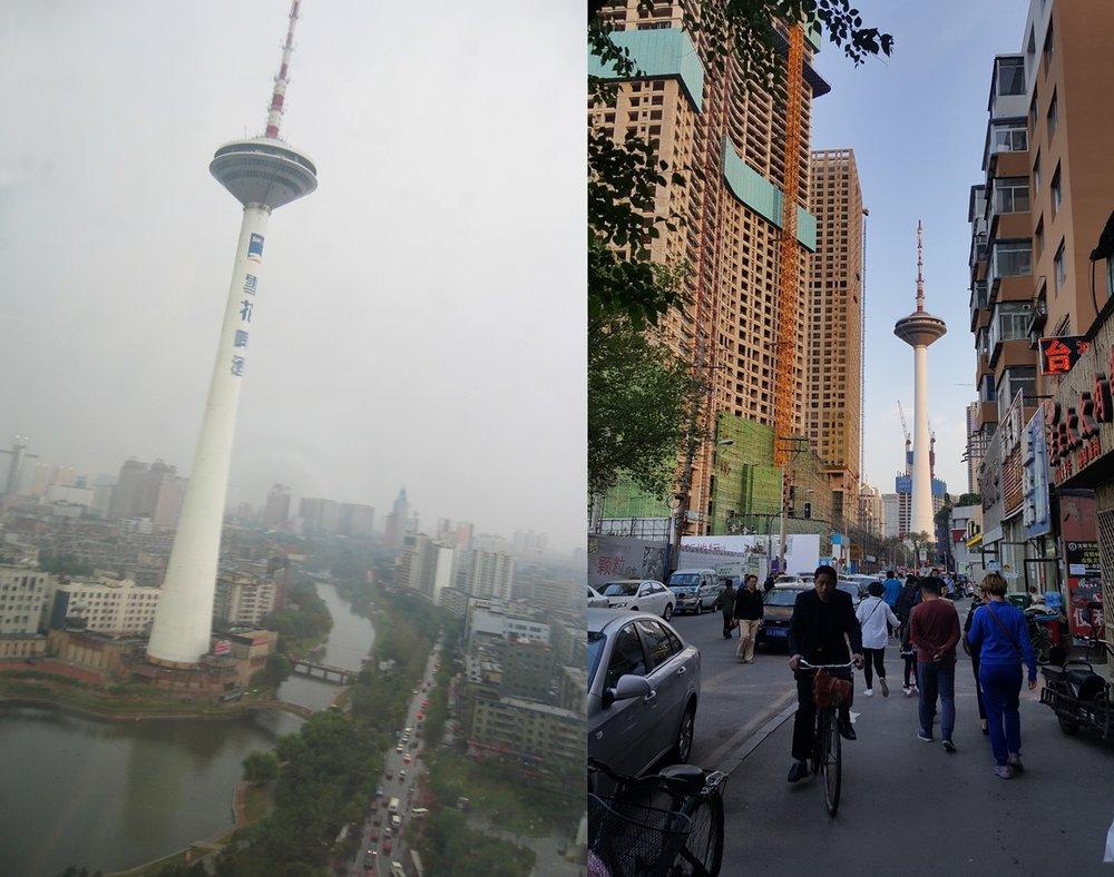 Comparison of Shenyang TV Tower, September 2005 and May 2017 photo credit: Sara Velas
