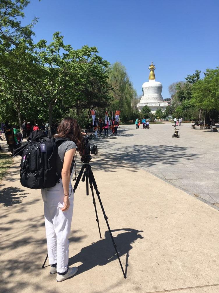 Ruby Carlson documenting the South Pagoda, May 2017 photo credit: Sara Velas