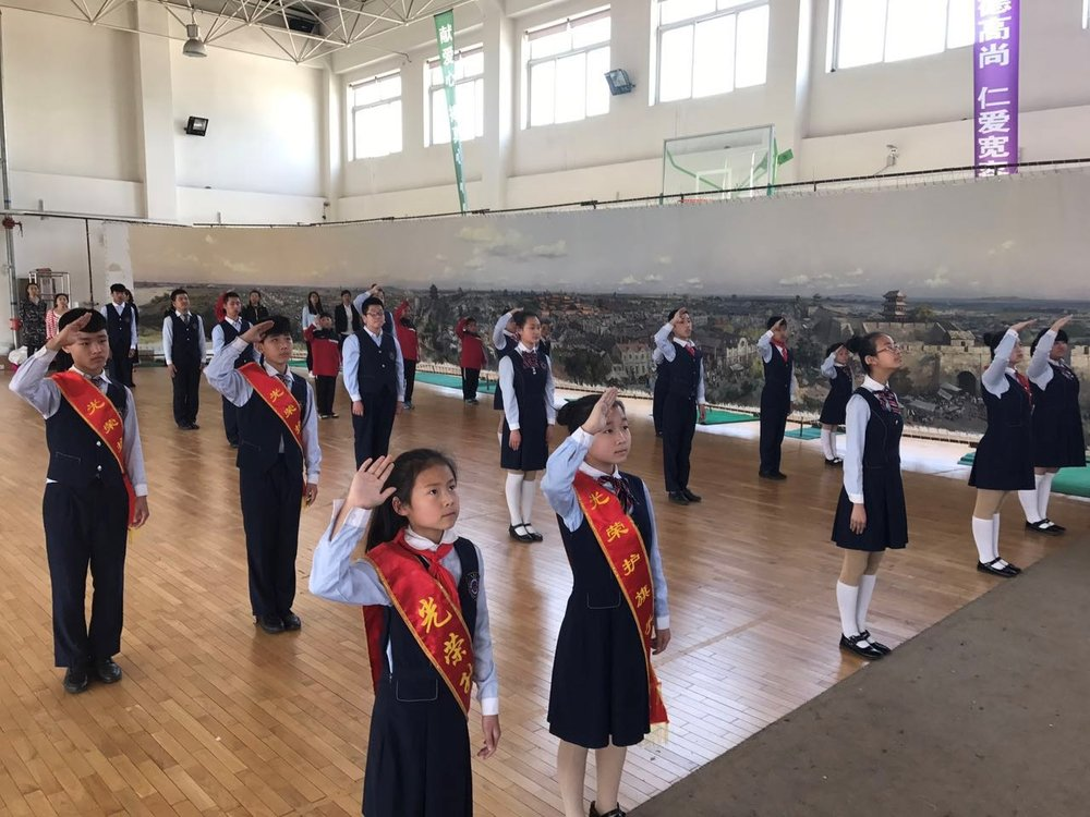 Students at the Tiexi School for the Deaf in the Gymnasium with  Shengjing Panorama , May 2017