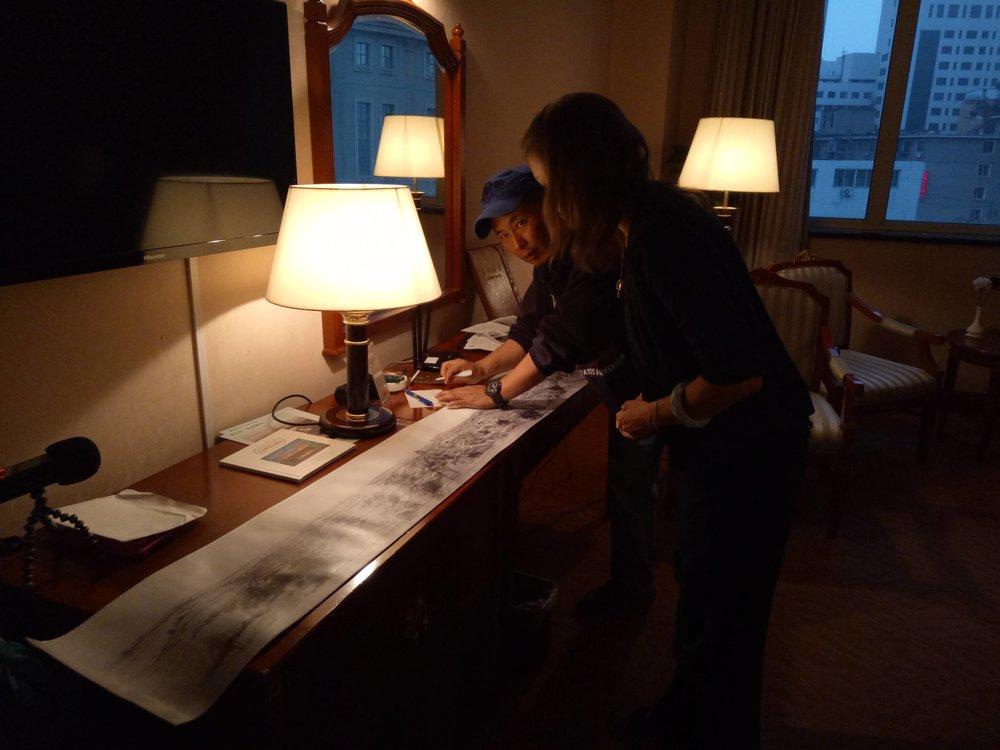 Sara Velas and Hexi explore the  Shengjing Panorama  composition, May 2017 photo credit: BWAXN