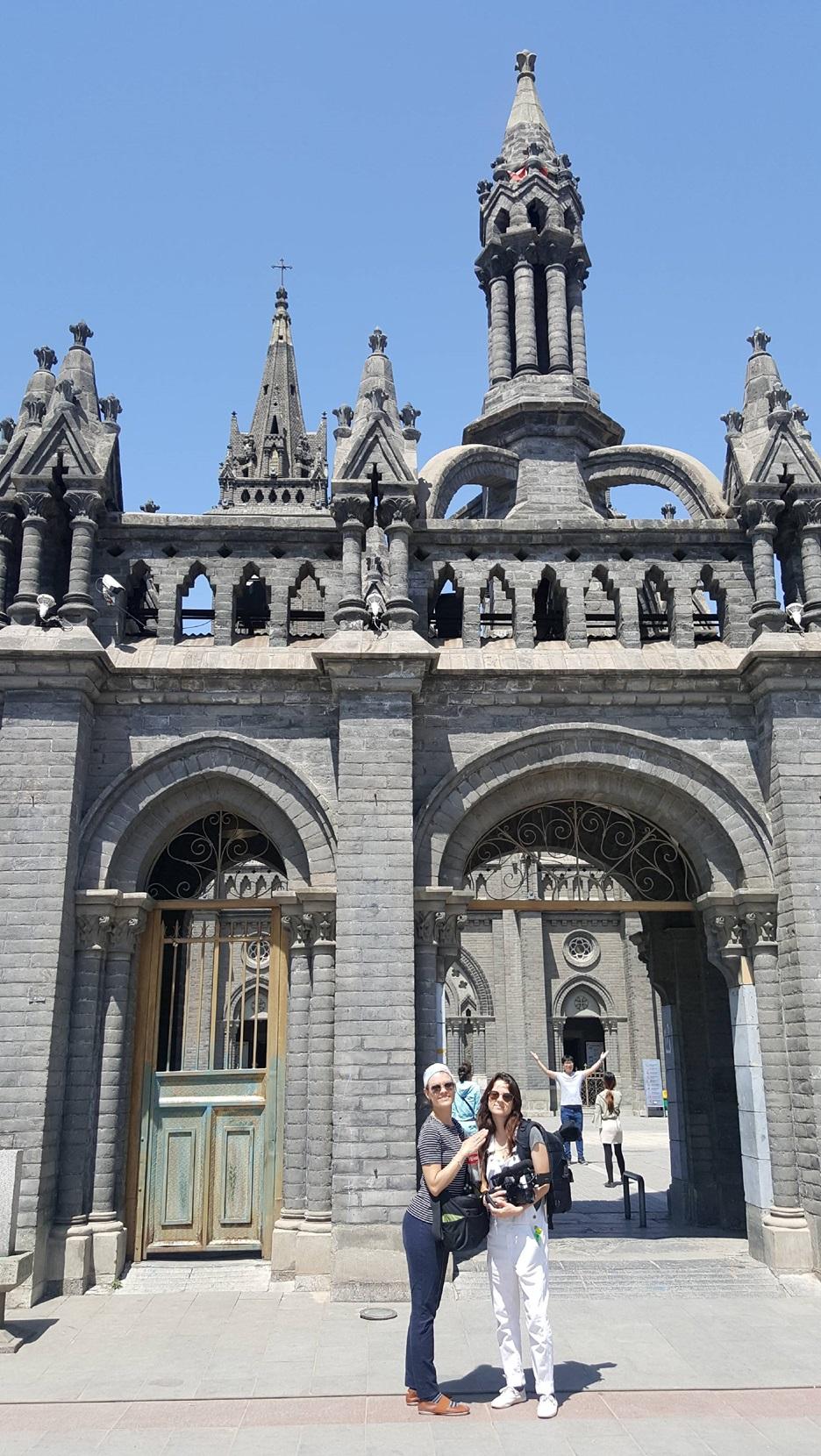 Sara Velas and Ruby Carlson in front of Nanguan Cathedral, May 2017 photo credit: Guan Rong