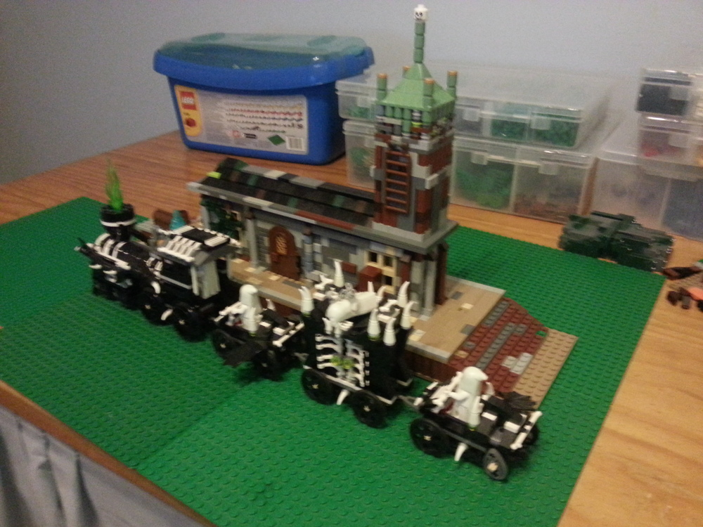A photo of the haunted train station I made. Not my most impressive MOC,but a start.