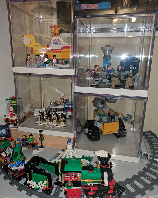 Loving my new display area! #lego #display #legoideas #walle #ghostbusters #beatles #drwho #afol #brick #bricktease