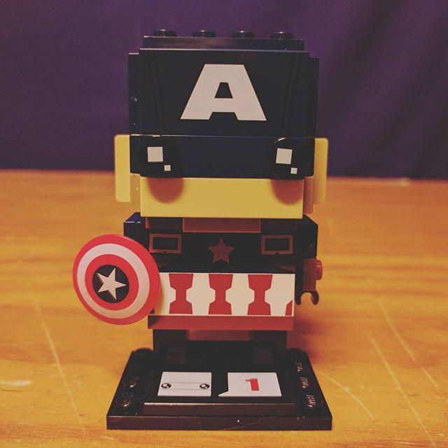 My first Brick Headz. I love it, but the ears are weird. #lego #brickheadz #afol #bricktease #captainamerica #marvel #brick #bricks