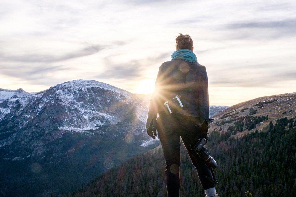 Sunburst overlooking Rocky Mountain National Park in Colorado