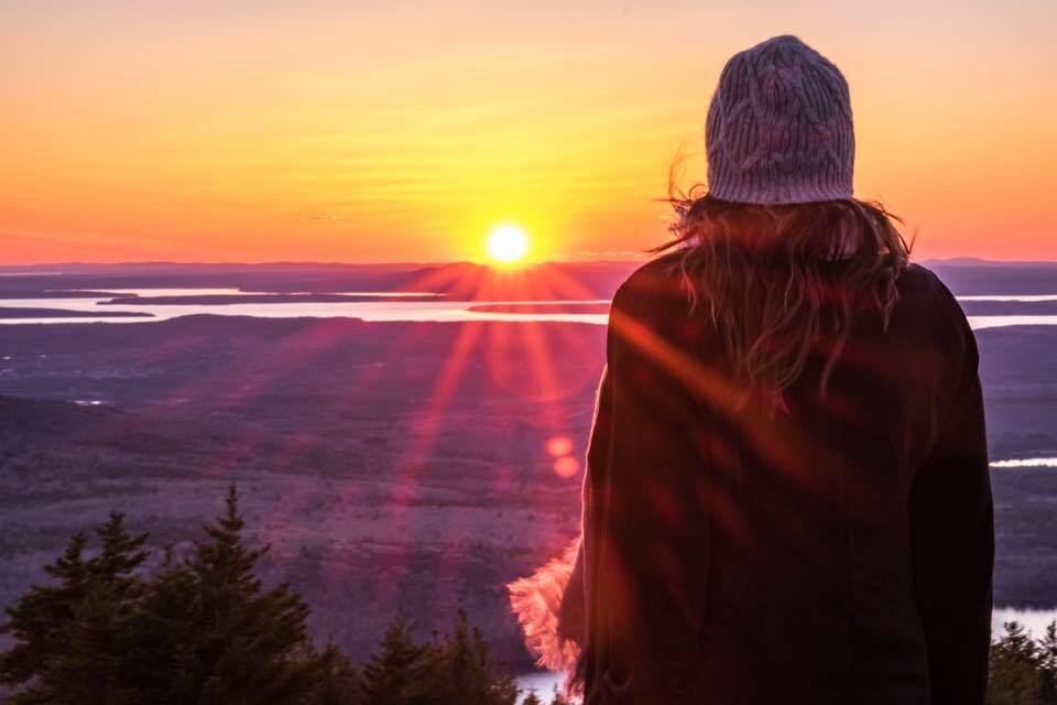 Sunset atop Cadillac Mountain in Acadia National Park in Maine