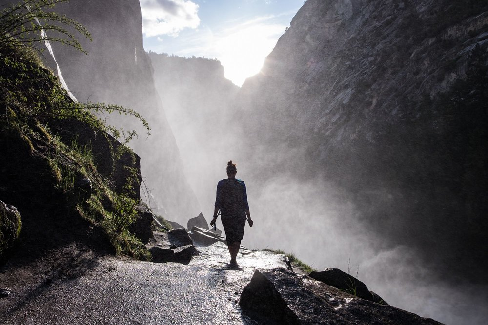 Hiking through Mist Falls in Yosemite National Park in California