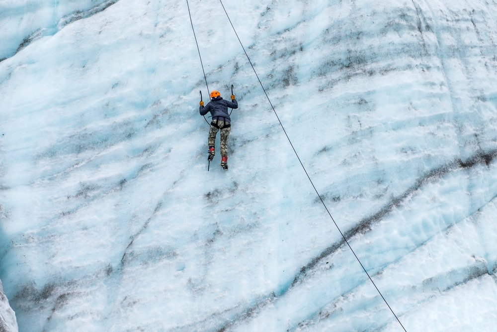 Ice climbing in Wrangell-St. Elias National Park and Preserve in Alaska