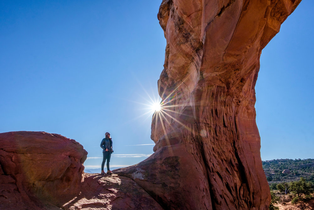 Sunburst at Arches National Park in Utah during an early morning hike