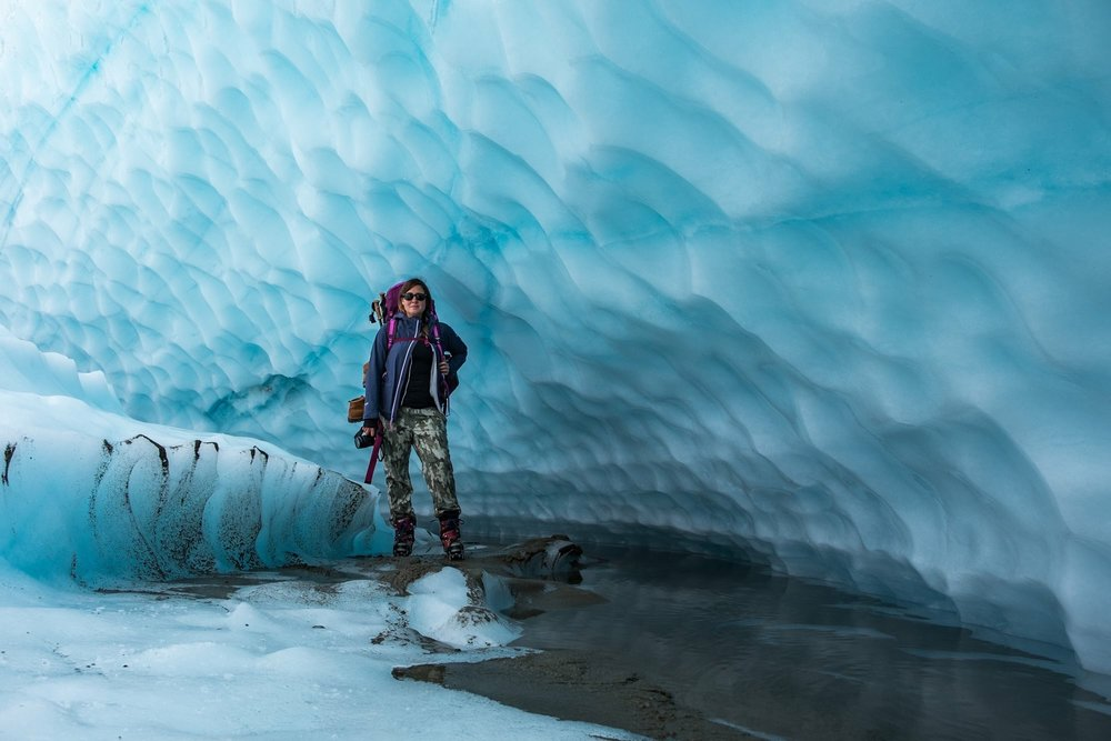 Under a glacier in Wrangell-St. Elias National Park and Preserve in Alaska