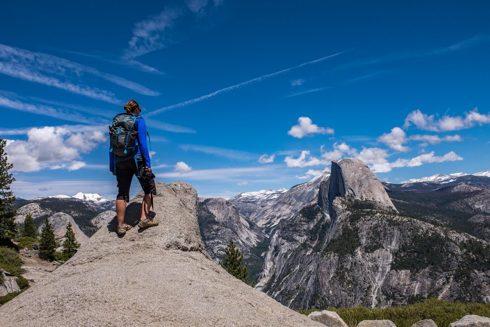 Overlooking Half Dome at Glacier Point in Yosemite National Park in California