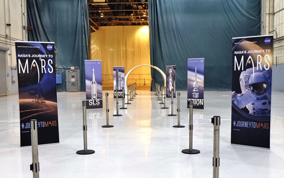 Pop-up banner stands at Michoud Assembly Facility in New Orleans