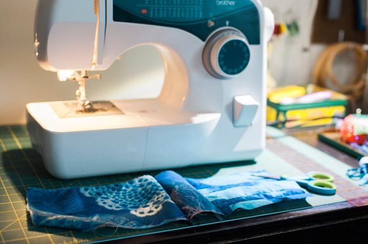 sewing cyanotype scraps (c) jocelyn mathewes