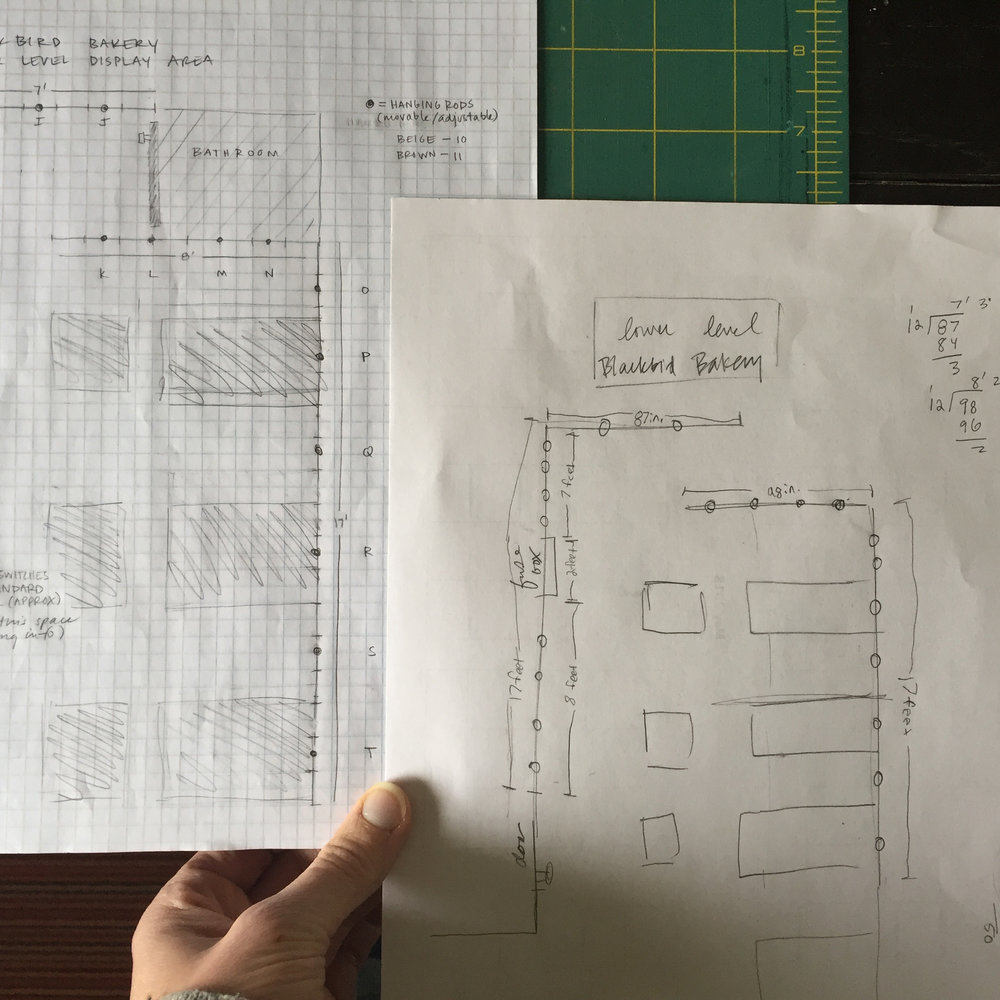 Creating a map of the space along with where you hope to hang all your pieces is an invaluable planning tool. I sketch a rough drawing (unless provided with a diagram) and then make a nerdy to-scale map on graph paper.
