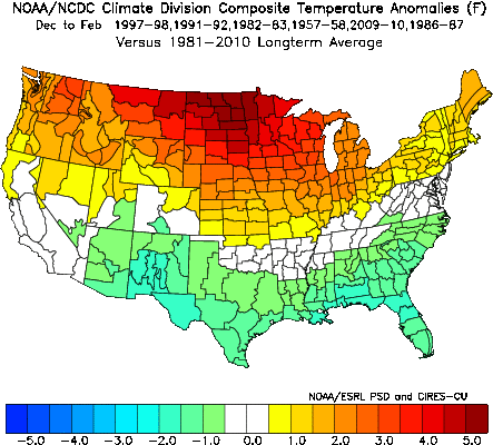 Average Dec to Feb temperature anomaly pattern for the analog years; courtesy NOAA