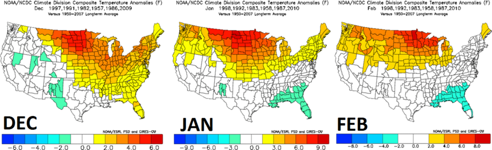 Month-to-month breakdown of temperature anomalies during the analog years; courtesy NOAA