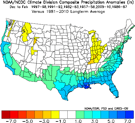 Average Dec to Feb precipitation anomaly pattern for the analog years; courtesy NOAA