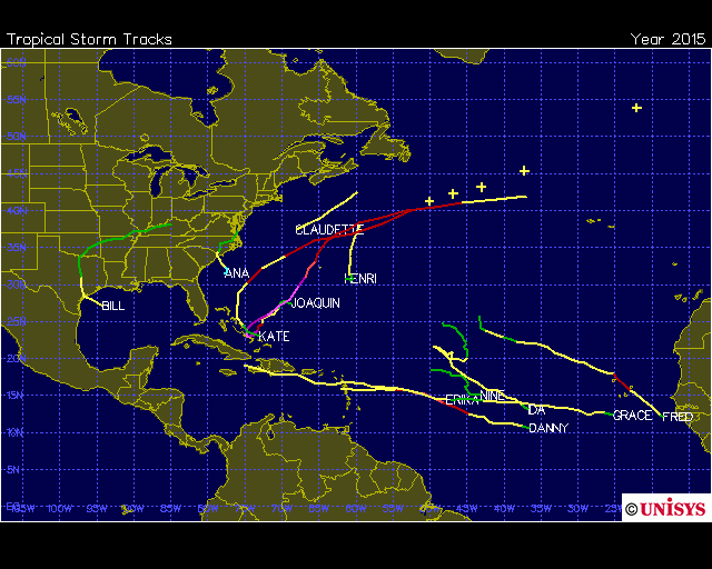 Tropical storm/hurricane tracks for 2015 in the Atlantic Basin; map courtesy Unisys Weather