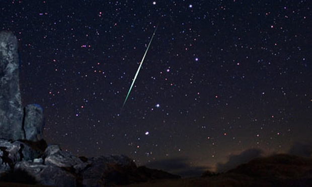 A Geminid fireball explodes over the Mojave Desert in California during December 2013.  Photograph: Wally Pacholka/AP