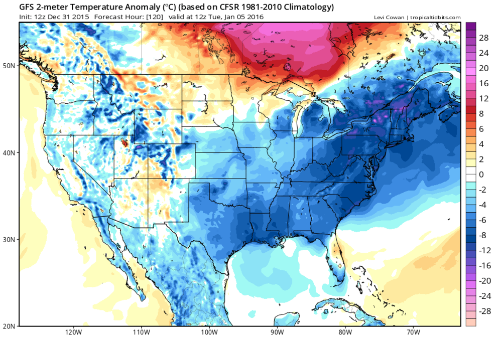 2-meter temperature anomalies for early Tuesday (courtesy tropicaltidbits.com, NOAA)