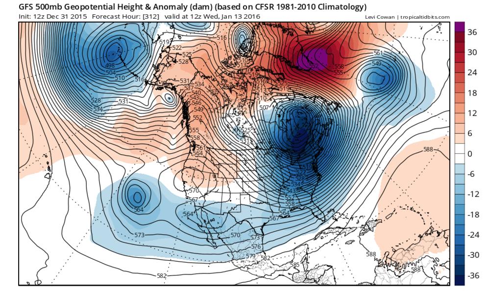 Forecast map of 500 millibar height anomalies for Wednesday, January 13th (courtesy tropicaltidbits.com, NOAA)
